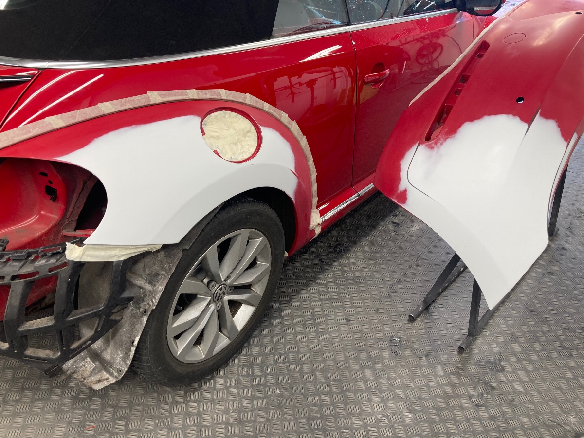 Beetle repaired & primed ready for painting